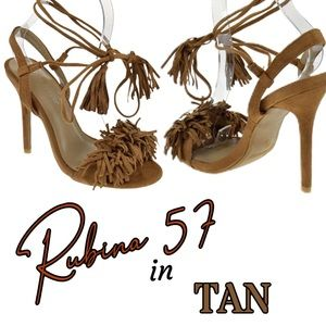 NIB Sexy Tan Fringe  Wrap Around Lace Up Sandals